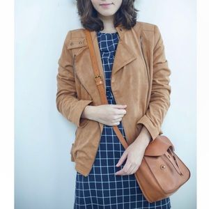 Adrienne Vittadini Faux Suede Brown Moto Jacket